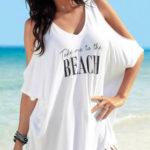 Tričkové plážové šaty s třásněmi