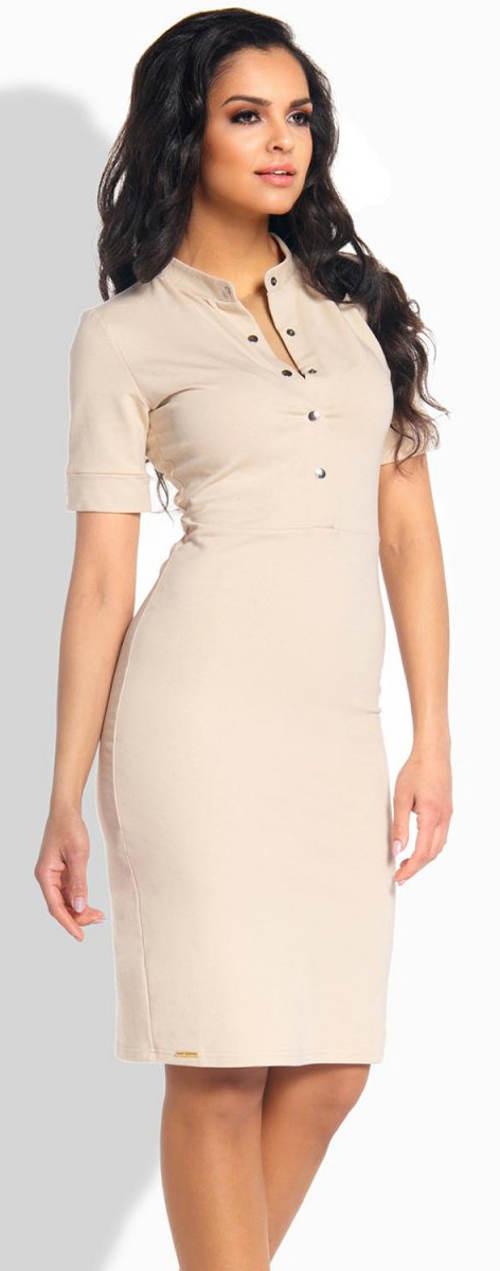 Vypasované šaty se stojáčkem a krátkými rukávy