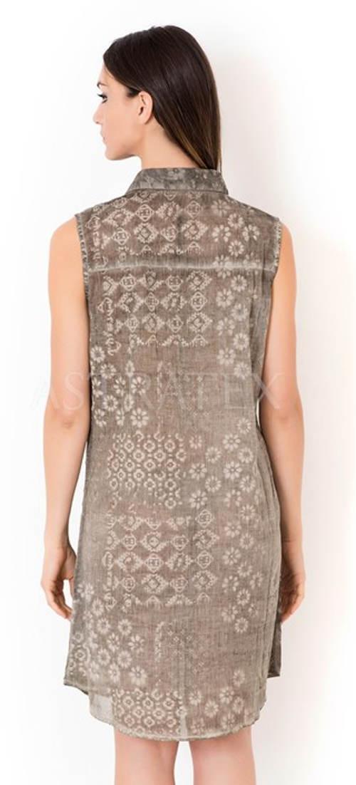 676e70a67954 Šedé lehce batikované letní šaty. Vzdušné italské košilové šaty