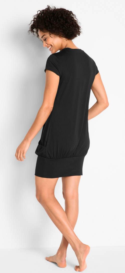 Černé šaty s širokou stahovací gumou na sukni