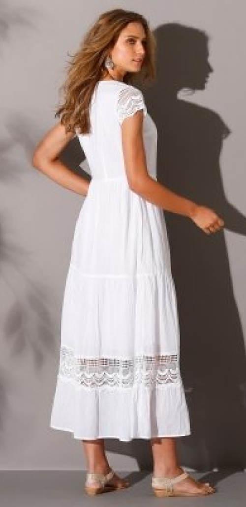 Dlouhé bílé šaty s krajkovou vsadkou 683e30b9da