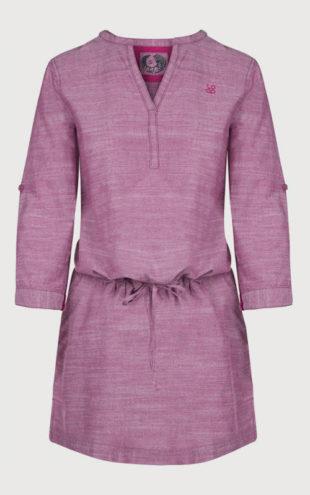 Fialkové dámské šaty se stažením v pase