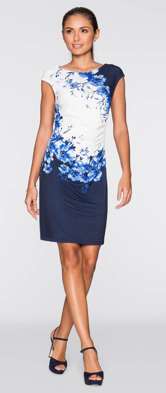 Modro-bílé šaty s květinovým potiskem