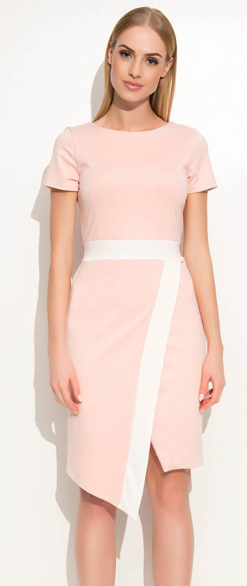 Růžové šaty s přeloženým předním dílem