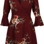 Vínové květované šaty s 3/4 zvonovým rukávem