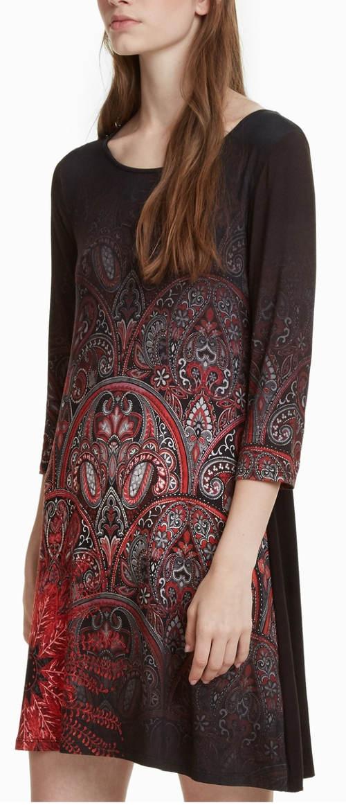 Volné španělské šaty Desigual s tříčtvrtečními rukávy