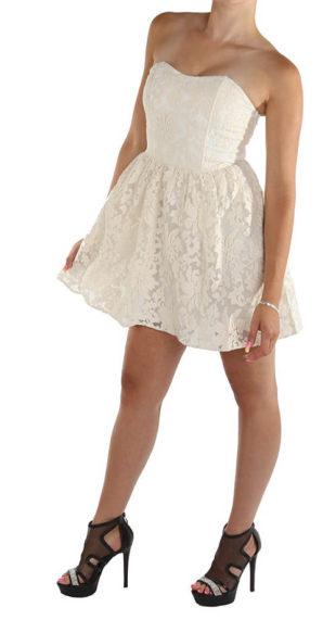 Bílé korzetové krajkové šaty