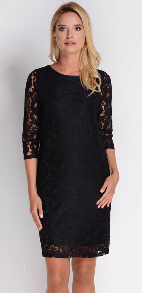 Černé celokrajkové dámské šaty