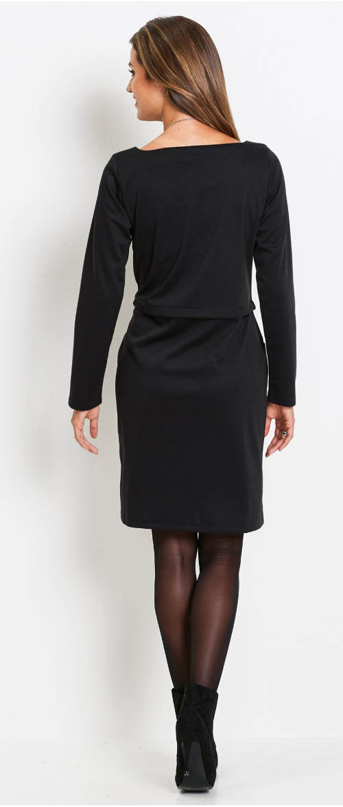 Černé šaty nad kolena s dlouhými rukávy
