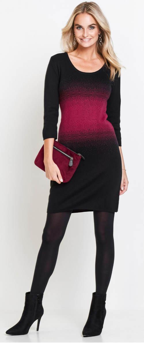 Černo-fialové pletené dámské šaty