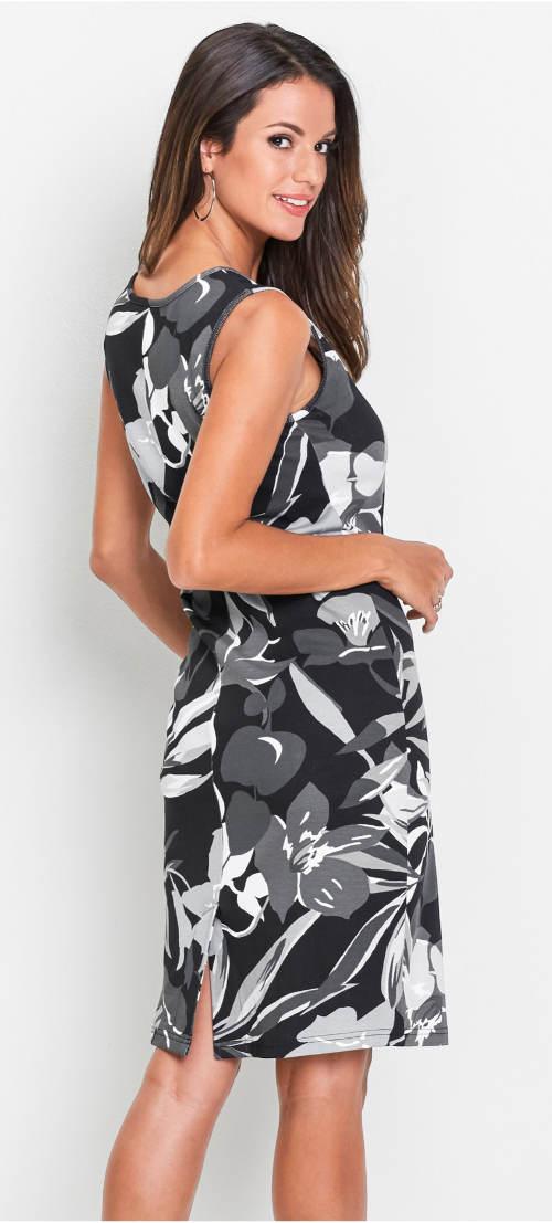Černobílé květované šaty