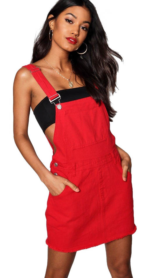 Červené džínové laclové mini šaty Laura