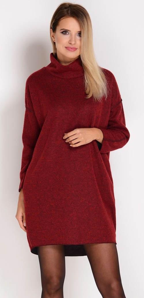 Červené volné zimní šaty s rolákem