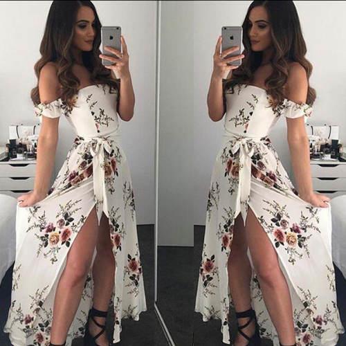 Dlouhé letní šaty s mašlí