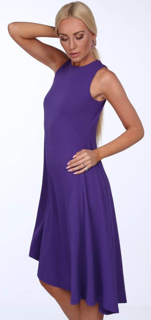 Fialové asymetrické pohodlné šaty