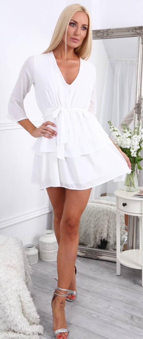 Krátké letní šaty s vázačkou v pase