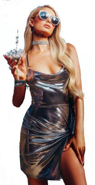 Lesklé stříbrné dámské šaty