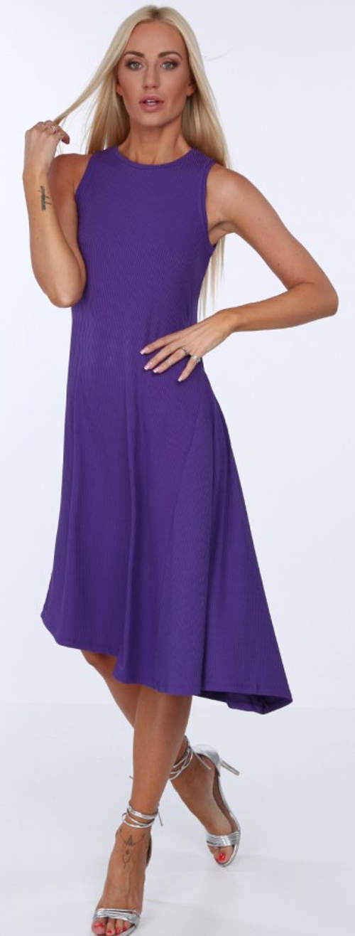 Letní fialové šaty bez rukávů
