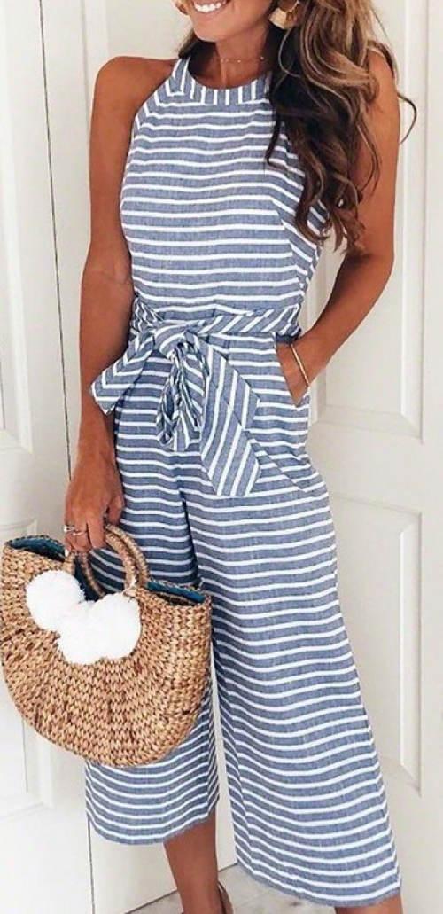 Pruhované kalhotové dámské šaty