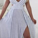 Pruhované letní maxi šaty