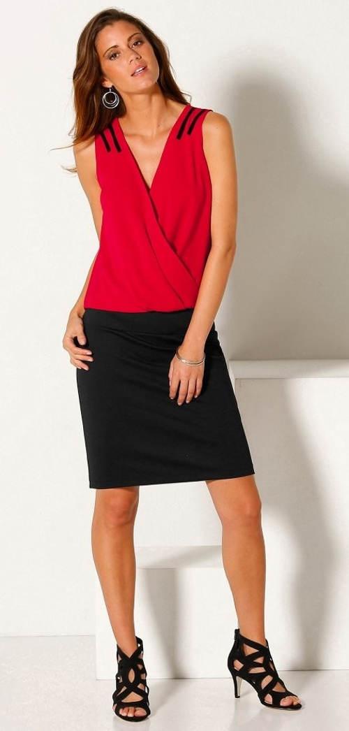 Šaty bez rukávů ze dvou materiálů