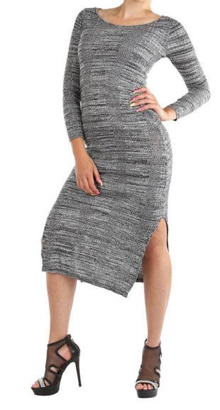 Teplejší dámské šaty s pleteným vzorem