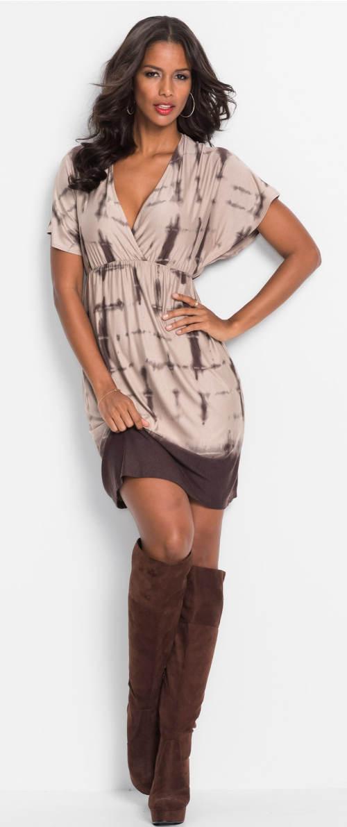 Batikované dámské šaty se staženým pasem