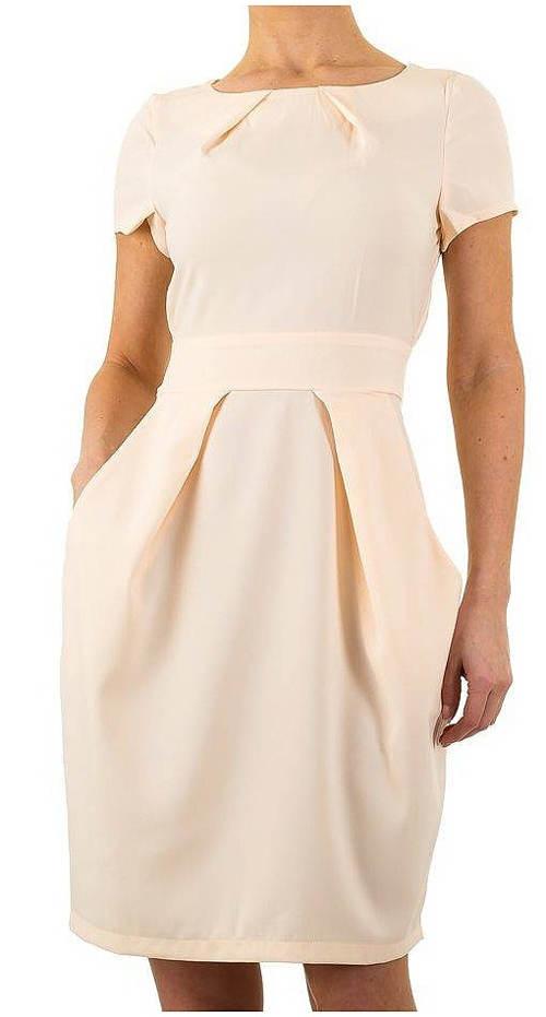 Béžové dámské šaty s balonovou sukní
