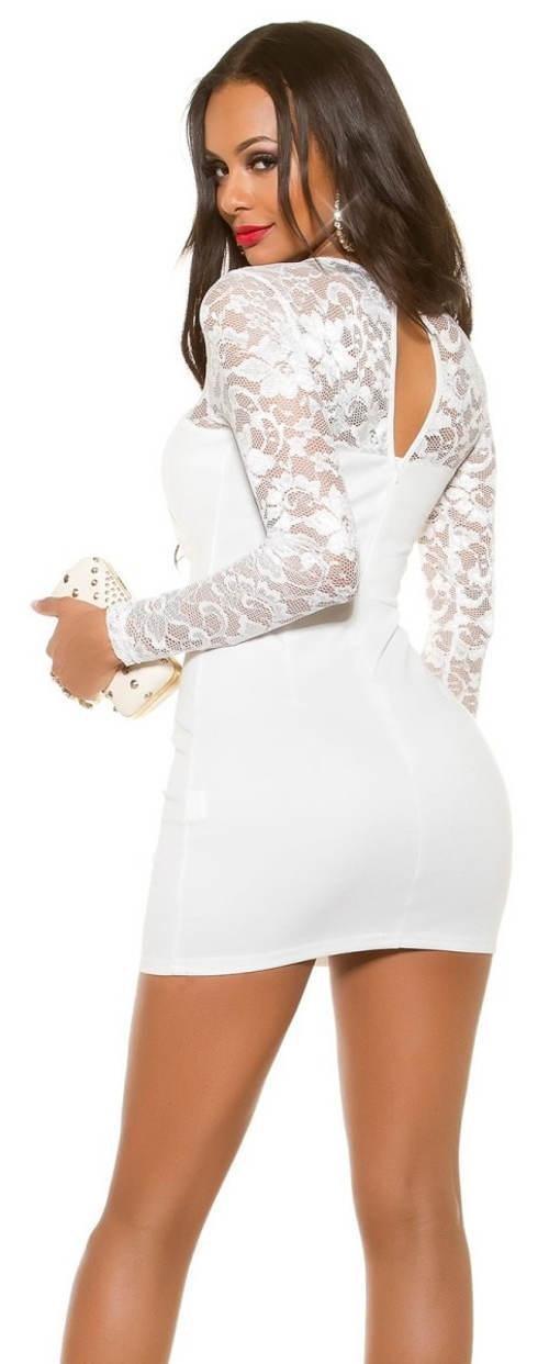 Bílé šaty s krajkovými rukávy