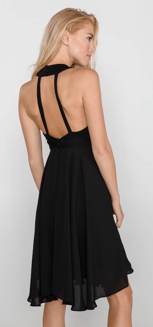 Černé společenské šaty s odhalenými zády