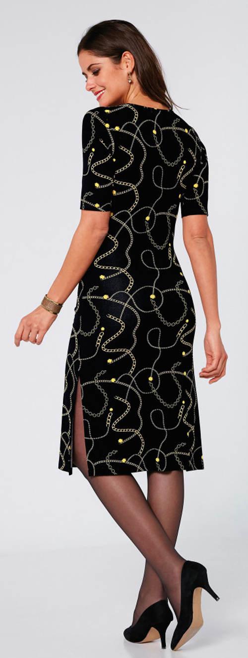 Černo zlaté nadměrné plesové šaty