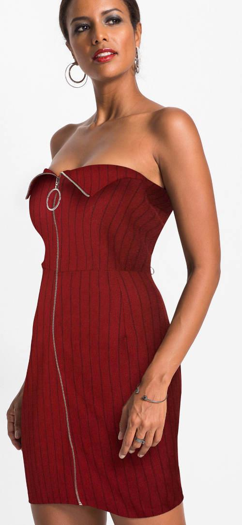 Červené společenské šaty bez ramínek
