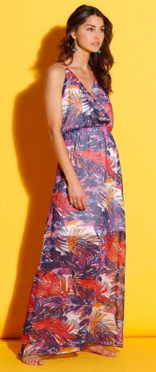 Dlouhé glamour šaty s potiskem