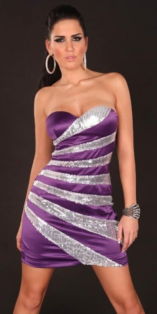 Fialové šaty se stříbrnými flitry