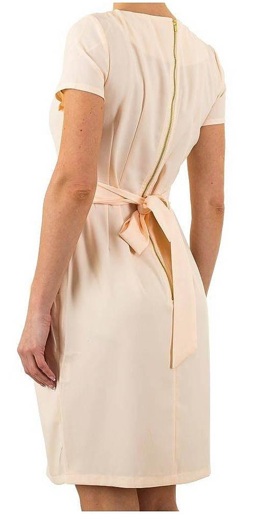 Krémové šaty s mašlí na zádech