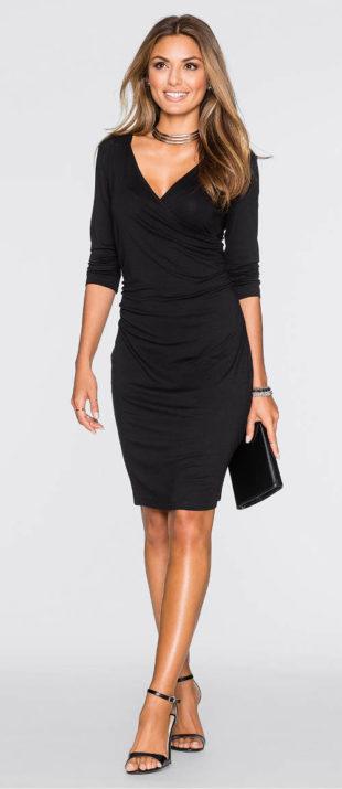 Levné černé společenské šaty s 3/4 rukávem