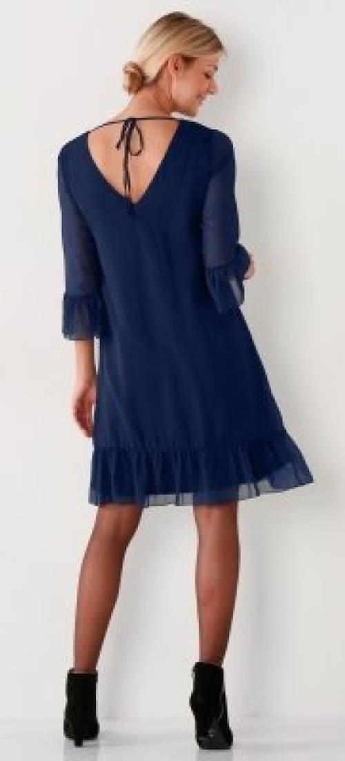 Modré šifónové šaty se spodničkou
