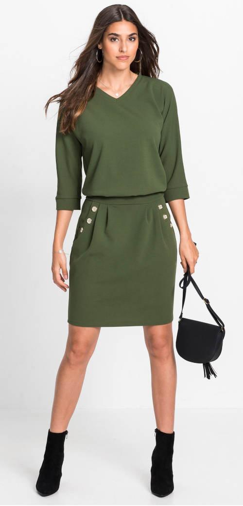 Podzimní dámské šaty v zelené barvě