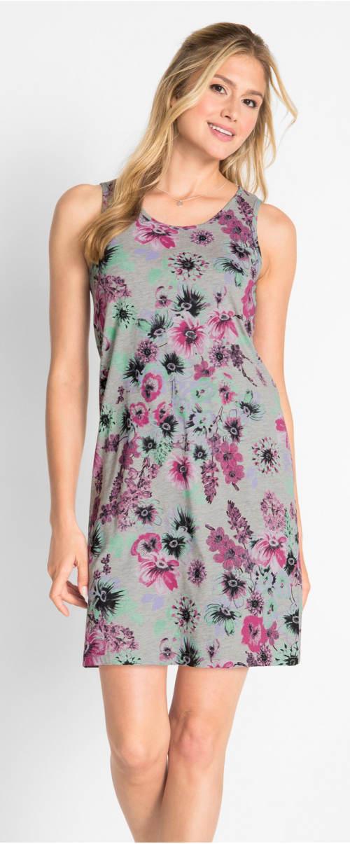 Šedé letní šaty s květinovým potiskem
