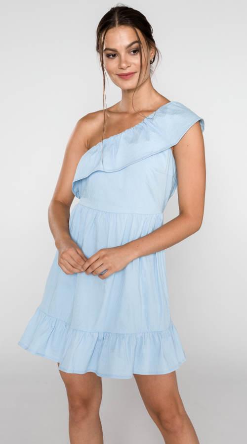 Světle modré dámské šaty s volánem na jedno rameno