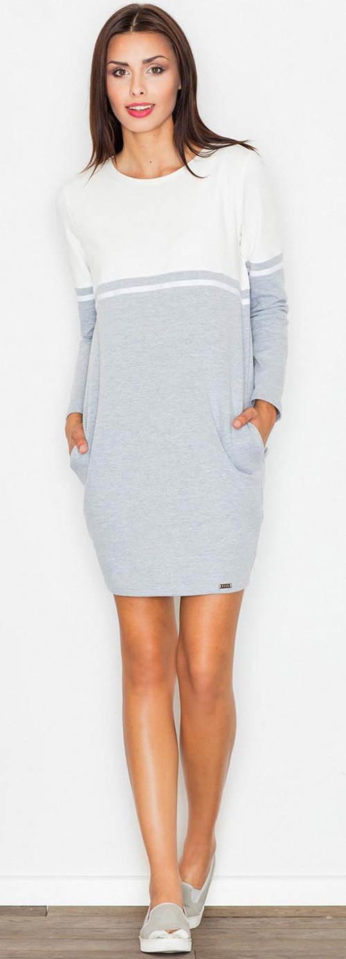 Úpletové šedo-bílé dámské podzimní šaty