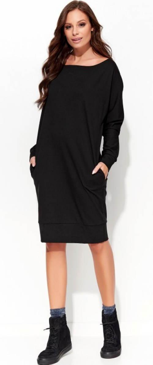 Volné černé šaty s kapsami