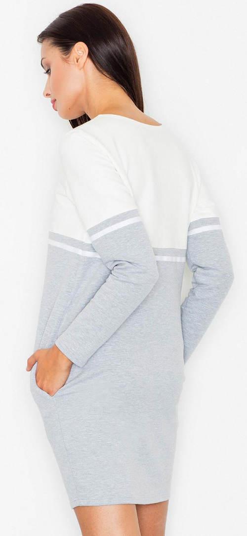 Úpletové šedo-bílé dámské podzimní šaty a97e99b65b
