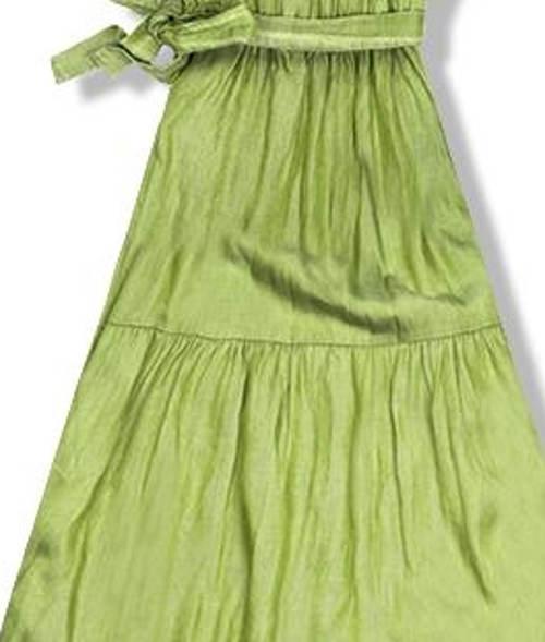 Zelené maxi šaty mačkaného vzhledu