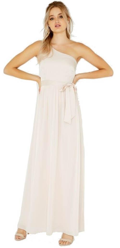 Bílé společenské maxi šaty na jedno rameno
