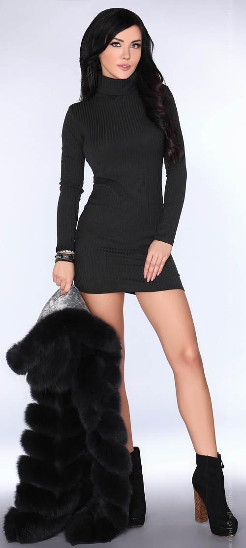 Černé elastické minišaty s dlouhým rukávem
