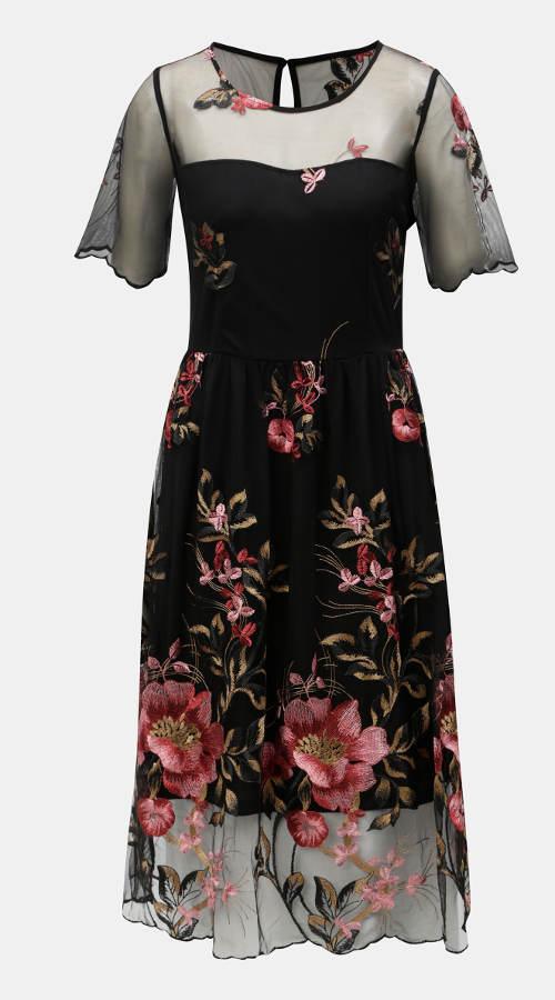 Černé společenské šaty s květovanou výšivkou
