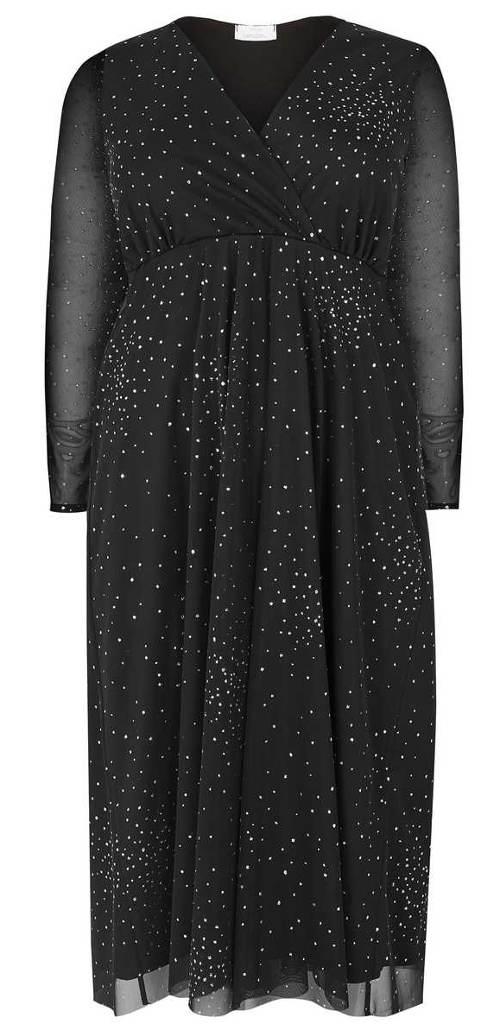 Černé společenské šaty střižené pod prsy