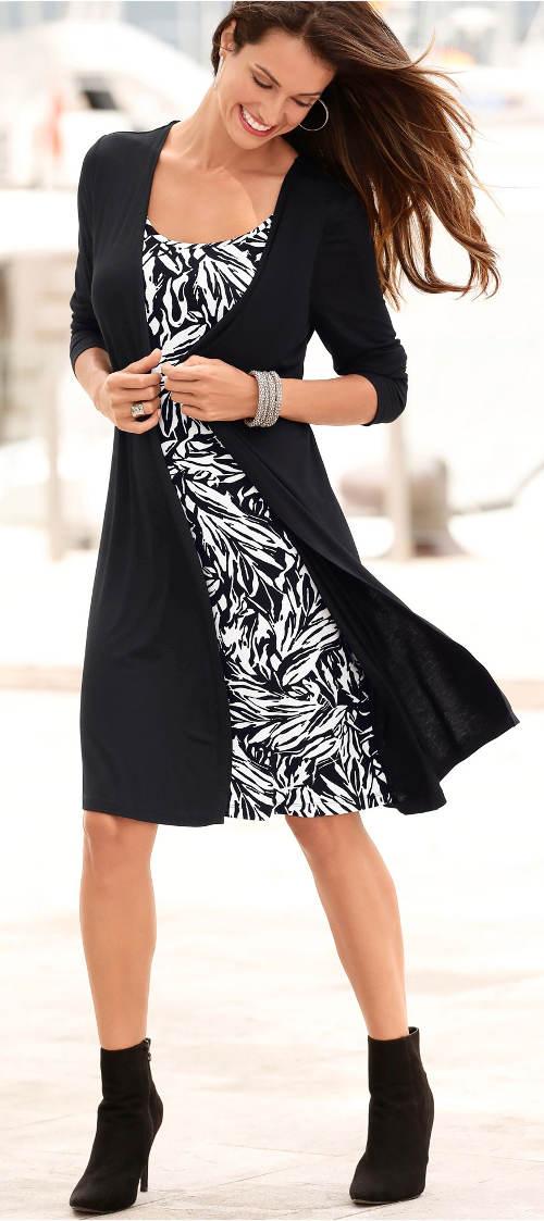 Černobílé dvouvrstvé šaty