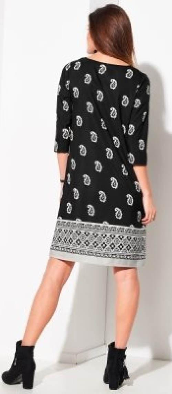 Černobílé šaty s 3/4 rukávy